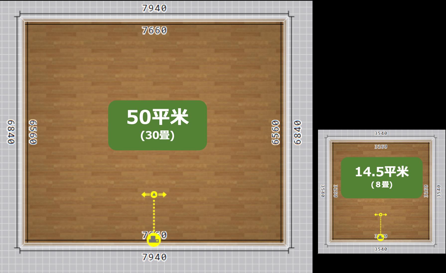 50平米と14.5平米の比較