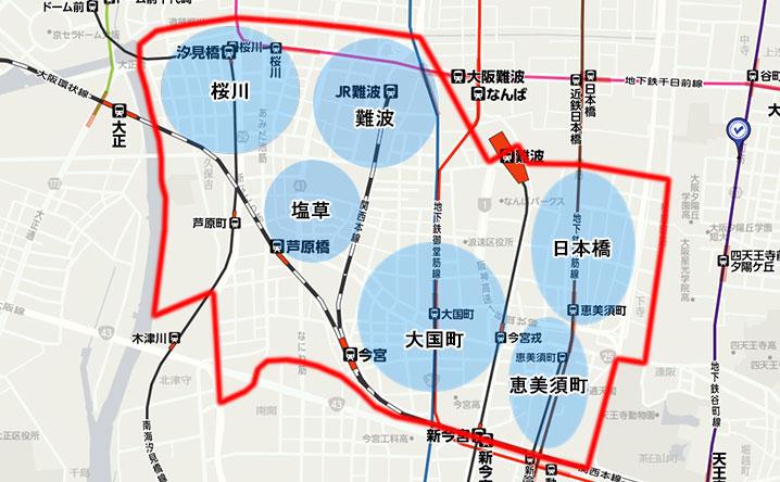 浪速区のエリアマップ