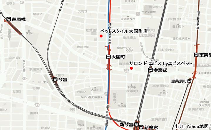 大国町のペットサロン地図