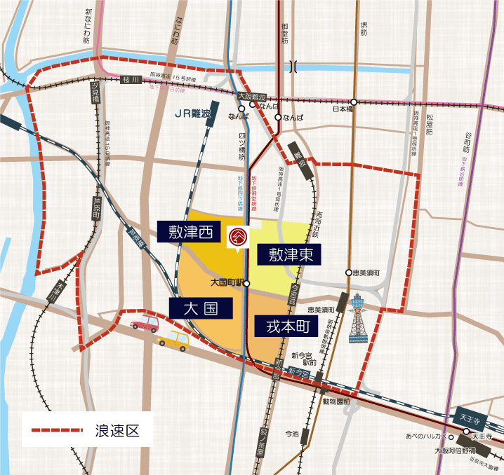 大国町駅周辺の地図