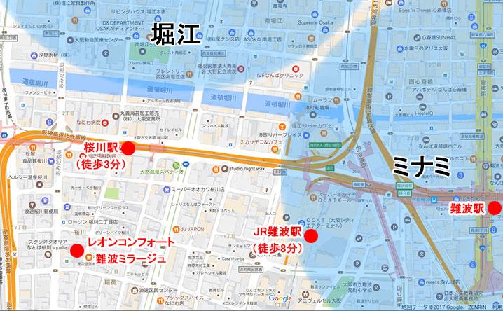 堀江とミナミの地図