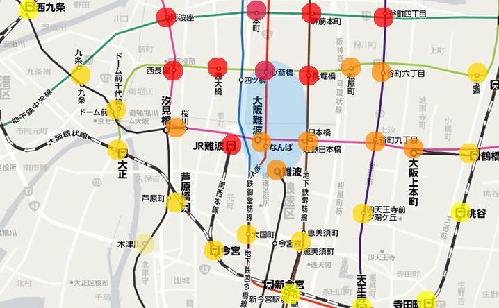 難波・心斎橋の駅別・家賃相場マップ