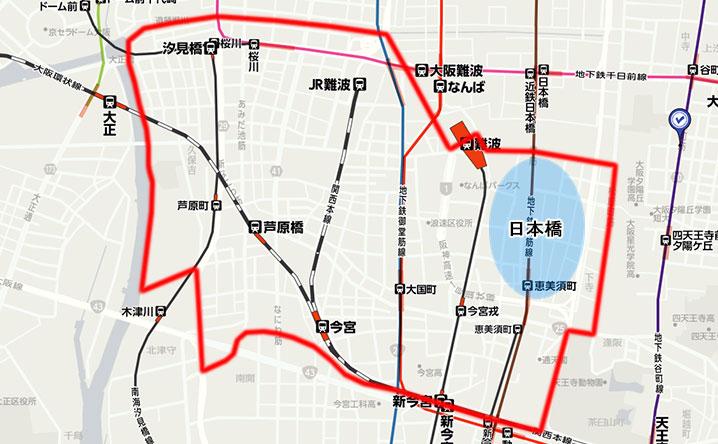大阪・日本橋の地図