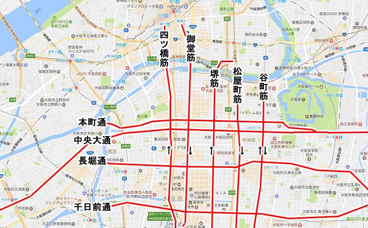 大阪市の主要な道路(通・筋)の地図